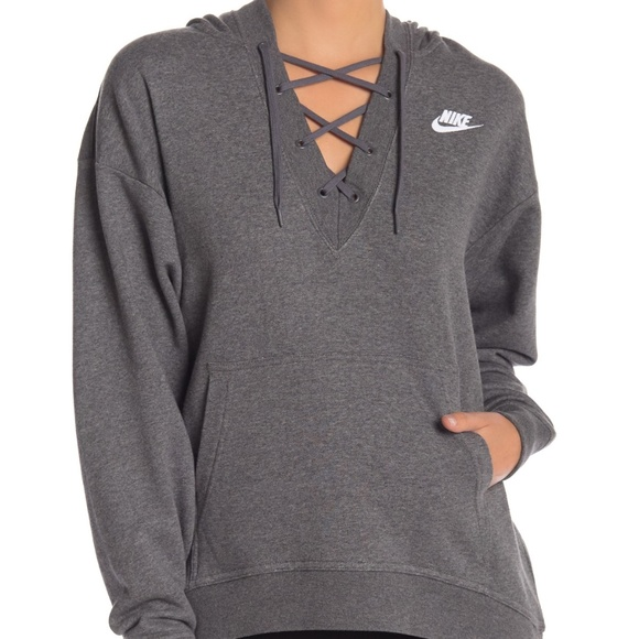 Nike Tops - Nike Charcoal Club Lace Up Pullover Hoodie